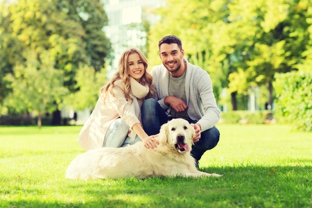 happy couple with labrador dog walking in city