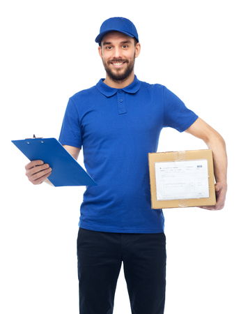 deliverer: happy delivery man with parcel box and clipboard