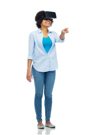 mediated: woman in virtual reality headset or 3d glasses