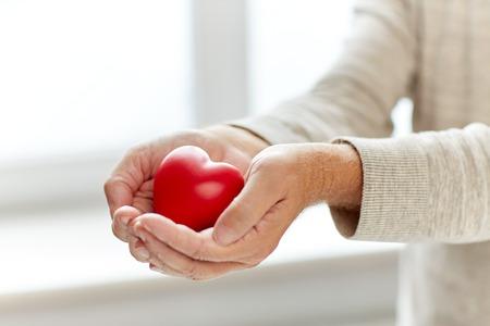 persona mayor: Cerca del hombre mayor con el corazón rojo en manos