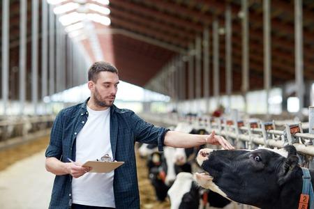 農業産業、農業、人および動物飼育のコンセプト - 若い男やクリップボードと牧場の牛舎の牛農家