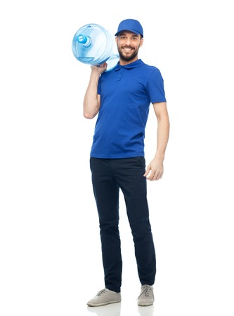 deliverer: happy delivery man with bottle of water
