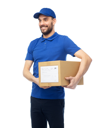 deliverer: happy delivery man with parcel box
