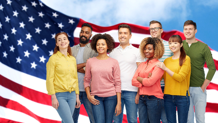 international group of people over american flag