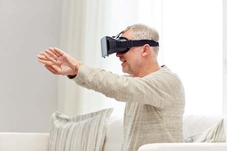 mediated: old man in virtual reality headset or 3d glasses