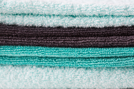 terrycloth: close up of stacked bath towels Stock Photo