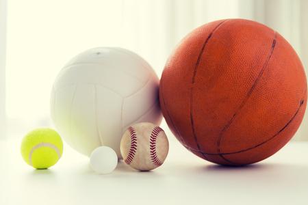 baseball stuff: close up of different sports balls set