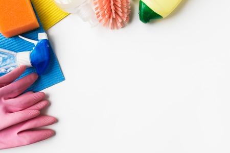 housework, housekeeping and household concept - cleaning stuff on white background Imagens