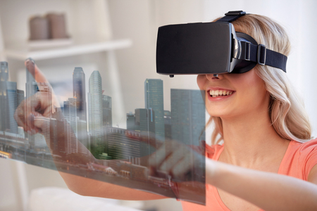 woman in virtual reality headset with city