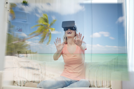 woman with virtual reality headset over beach