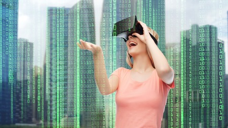 woman in virtual reality headset or 3d glasses