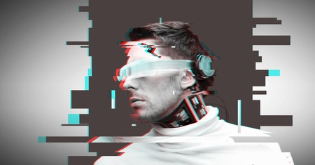 man with futuristic glasses and sensors Stock Photo - 73726751