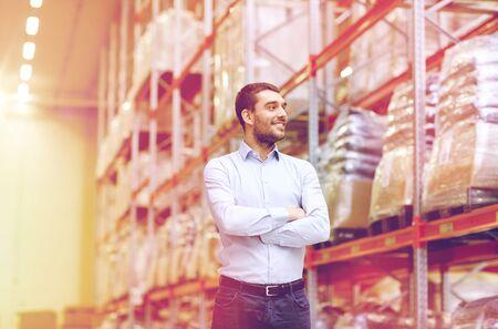 happy man at warehouse Stock Photo