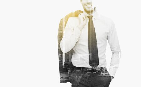 corporate buildings: business, people and corporate concept - handsome businessman with crossed arms over city buildings and double exposure effect Stock Photo