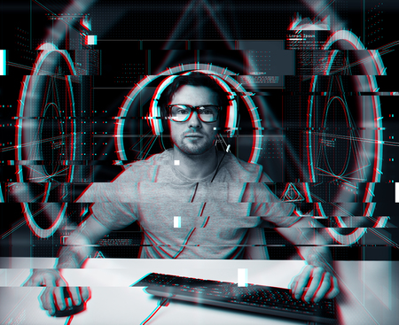 man in headset with computer virtual projections