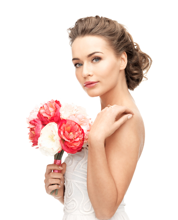 woman with bouquet of flowers photo