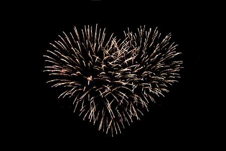ハート型花火の夜