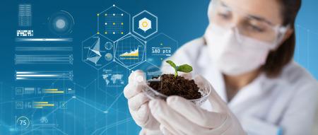 Scienza, biologia, ecologia e concetto di ricerca - close up di giovane scienziato femminile che indossa la maschera protettiva in possesso di piatto di petri con campione di pianta e terreno su sfondo blu e grafici virtuali