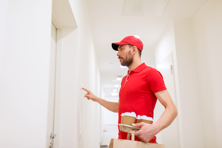 delivery, mail and people concept - man delivering coffee and food in disposable paper bag to customer home and ringing doorbell