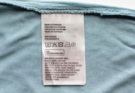 label with users manual of clothing item