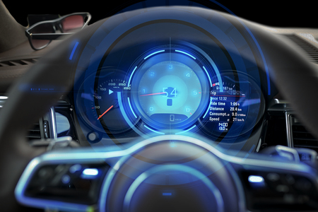 tachymeter: transport, drive and technology concept - close up of car dashboard with speedometer and tachometer Stock Photo