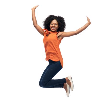 흰색 위에 점프 행복 아프리카 계 미국인 여자 스톡 콘텐츠