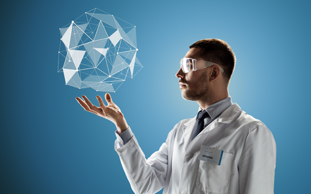 scientist in goggles with low poly projection Stock Photo