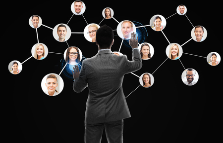 businessman working with network contacts icons photo