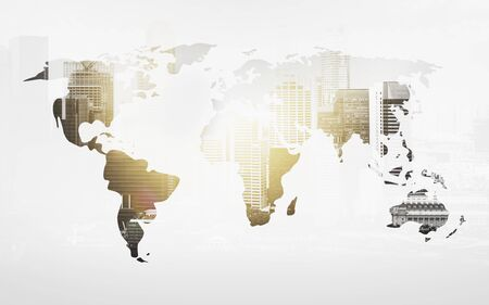 global communication: economics and global business concept - world map with city over white background Stock Photo