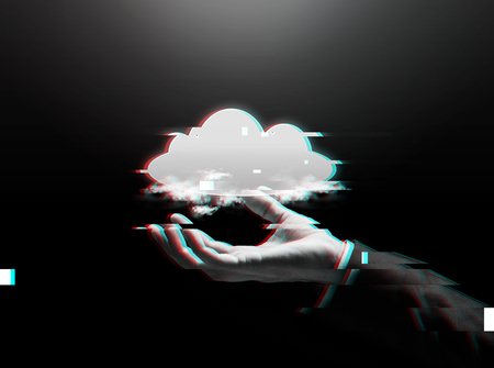 business, cyberspace, technology and people concept - close up of businessman hand with cloud computing icon over dark background