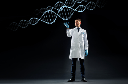 science, genetics and people concept - doctor or scientist in white coat and medical gloves with dna molecule projection over black background