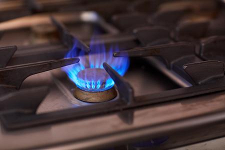 burning gas stove flame