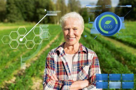 organic farming, agriculture and people concept - happy senior woman at farm Фото со стока