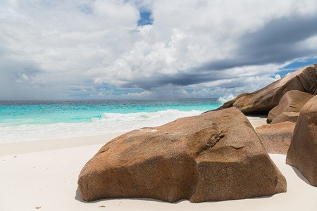 island beach in indian ocean on seychelles Stock Photo