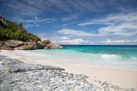 island beach in indian ocean on seychelles Stock Photo