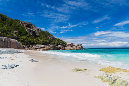 travel, seascape and nature concept - island beach in indian ocean on seychelles Stock Photo