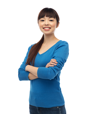 happy asian people: fashion, portrait and people concept - happy smiling young asian woman