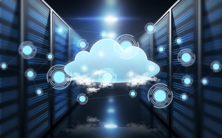 host: computing and technology concept - virtual cloud hologram over futuristic server room background