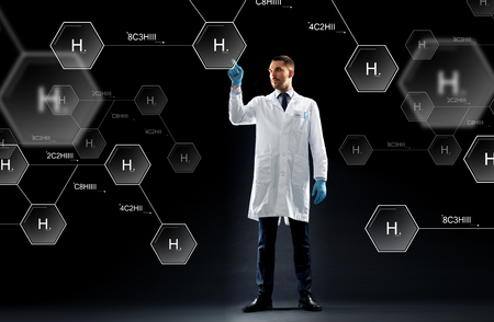 researching: science, future technology and chemistry concept - doctor or scientist in white coat and medical gloves with virtual chemical formula projection over black background