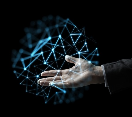 ビジネス、人、ネットワークおよび未来の技術コンセプト - 低温ポリ投影では黒背景に上げられたビジネスマン手 写真素材
