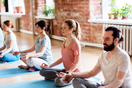 group of people making yoga exercises at studio Stock Photo - 80282633