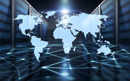 business, network and technology concept - virtual world map hologram over futuristic server room background Stock fotó