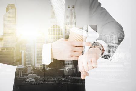 close up of businessman with wristwatch and coffee 版權商用圖片 - 80279302