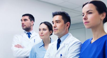 corridors: group of medics or doctors at hospital