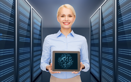businesswoman with tablet pc over server room