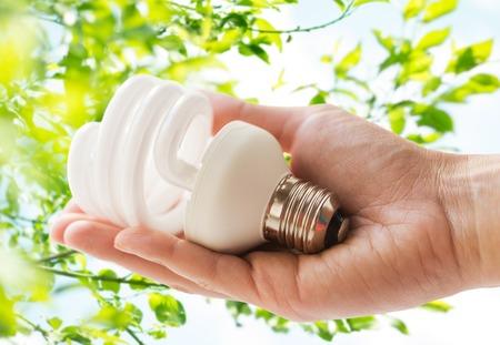 Gros plan de main tenant l'ampoule d'économie d'énergie Banque d'images - 80532457