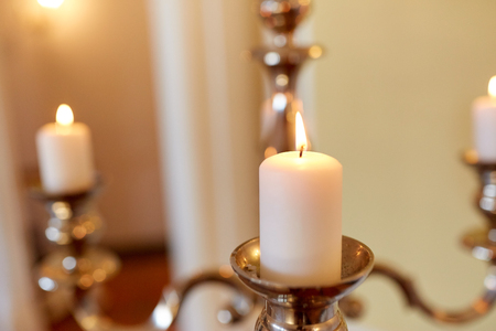 candles burning in church Stock Photo - 80532634