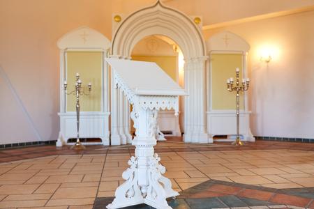 stand at orthodox church Stock Photo