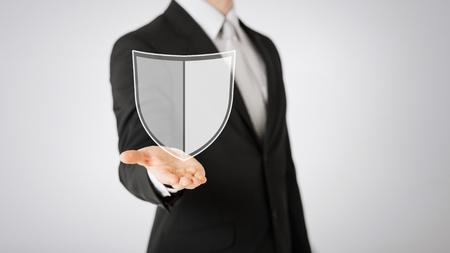 man with virtual antivirus program icon