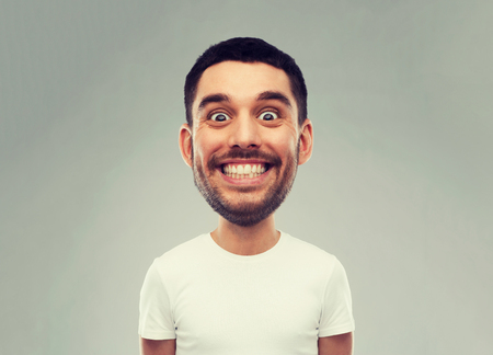 man with funny face over gray background
